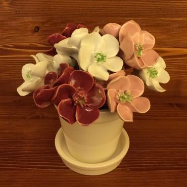 Vaso con sottovaso Fiori bordeaux rosa bianchi