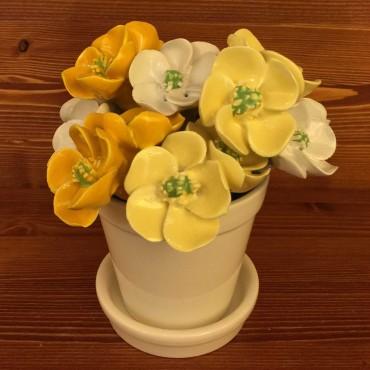 Vaso con sottovaso Fiori gialli chiaro / scuro bianchi