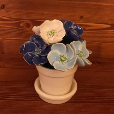 Vaso con sottovaso Fiori blu azzuri bianchi