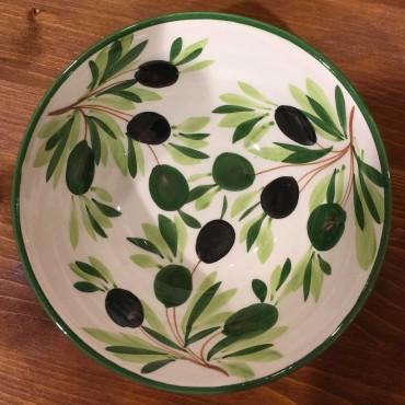 Ciotola tonda decoro interno Olive esterno fascia verde