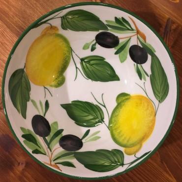 Ciotola tonda decoro interno Limoni Olive esterno fascia verde
