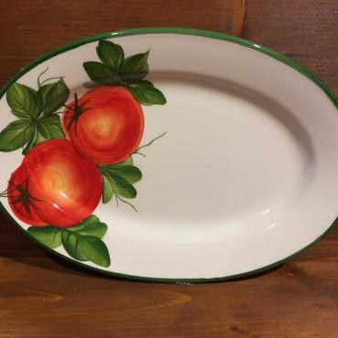 Piatto Ovale Falda Decoro Pomodori