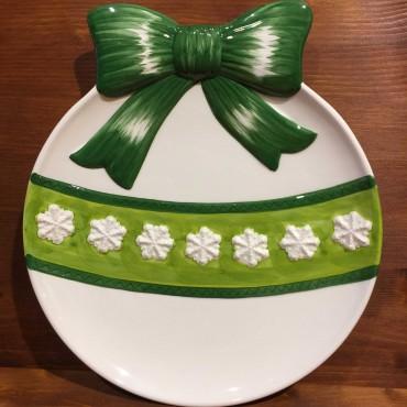 Piatto Panettone fiocco verde
