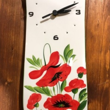 Wall Clock Poppy Flowers
