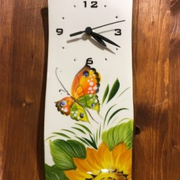 Wall Clock Sunflower and Butterfly