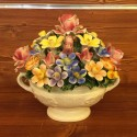 Mixed Flowers oval basket with handles