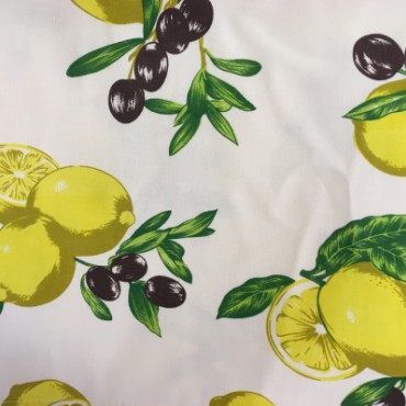 Cotton Tablecloth with Lemons and Olives