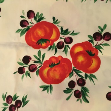 Cotton Tablecloth with Tomatoes and Olives