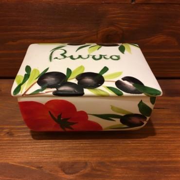 Butterhalter Tomaten und Oliven