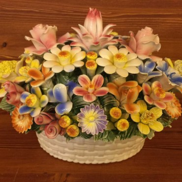 Oval basket of mixed flowers