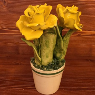 Vase with Flower 3 Yellow Roses