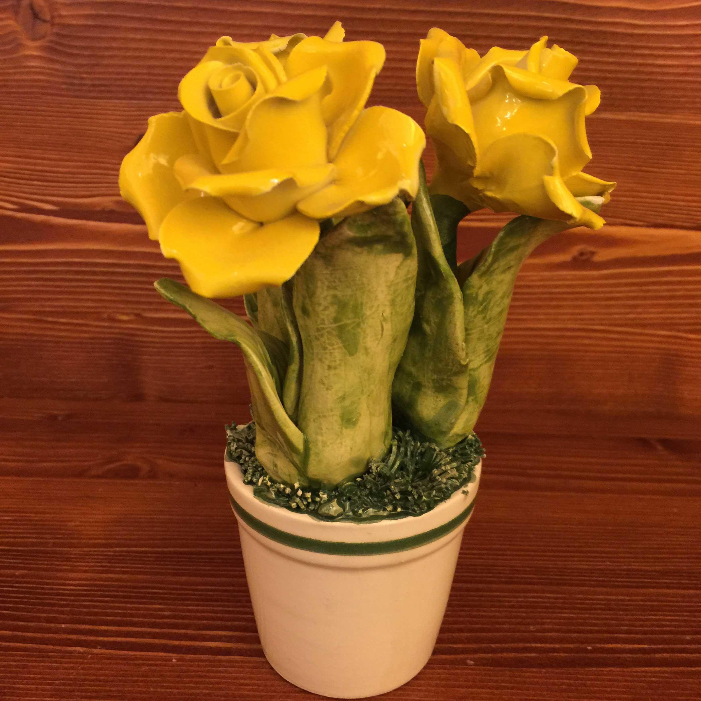 Fiori Gialli Vaso.Vase With Flower 3 Yellow Roses Garda Ceramiche