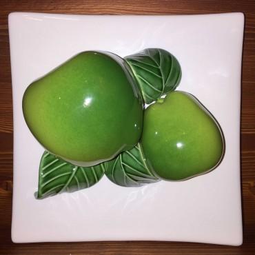 Mattonella da appendere Mele verdi, fondo bianco