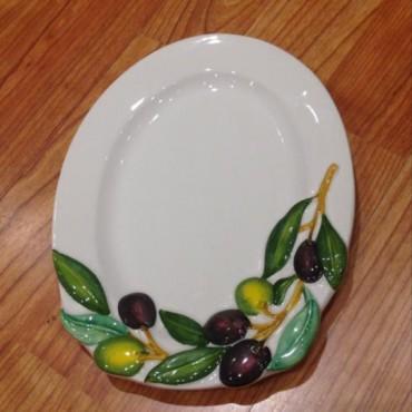 Piatto Ovale Decoro Olive
