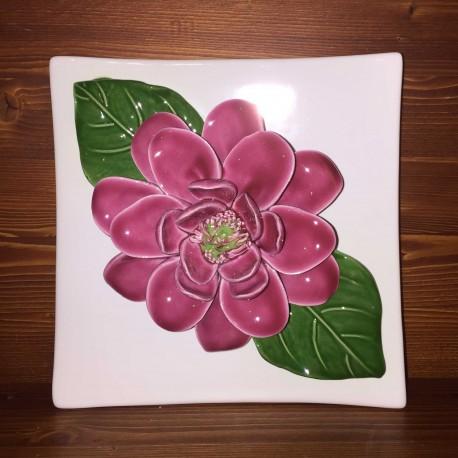Mattonella da appendere Magnolia rosa, fondo bianco