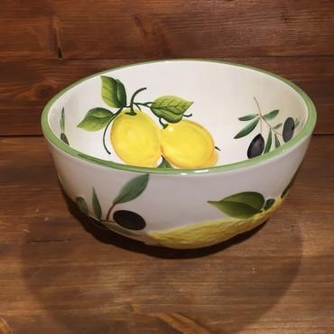 KugelSchüssel mit Zitrone Oliven, innen bemalt außen im Relief