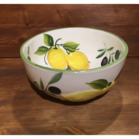Ciotola Sfera Limone Olive interno dipinto, esterno rilievo