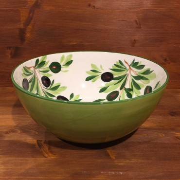 Round bowl decorated internally with Olives and externally with green band