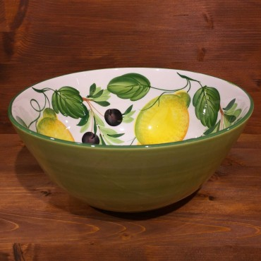 Round bowl with internal decoration Lemons Olive outside green band