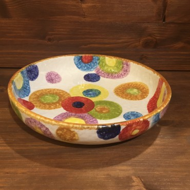 Round shaped Spaghetti bowl with colored circles
