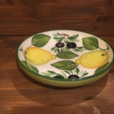 Schüssel Rund Spaghetti Zitrone und Oliven