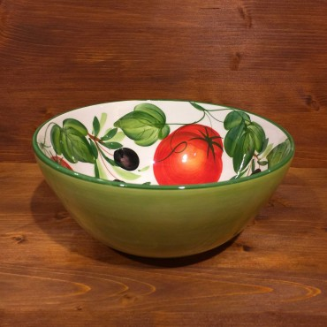 Round bowl decorated internally with tomatoes and olives and externally with green band