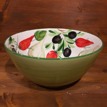 Round bowl inside decoration Garlic Peppers Olives outside green band
