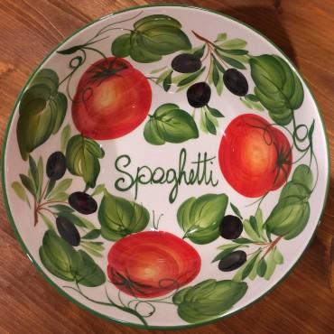 Ciotola Spaghetti tonda decoro interno Pomodori Olive esterno fascia verde