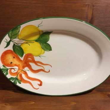 Teller Eiförmig Tintenfisch und Zitrone