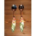 Coppia Insalata Fenicottero Acciaio Inox e Ceramica