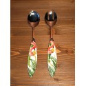 Salat Besteck Flamingo Inox und Keramik