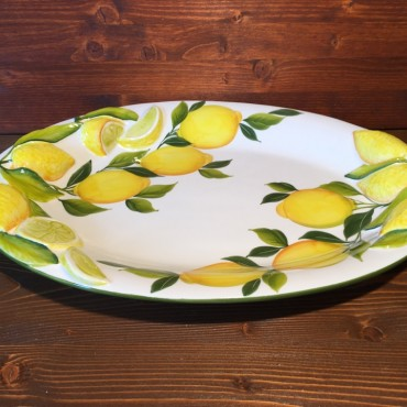 Ovale Zitronen Relief Tablett