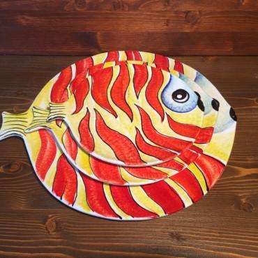 Piatto Piano Tondo Pesce Fiamma