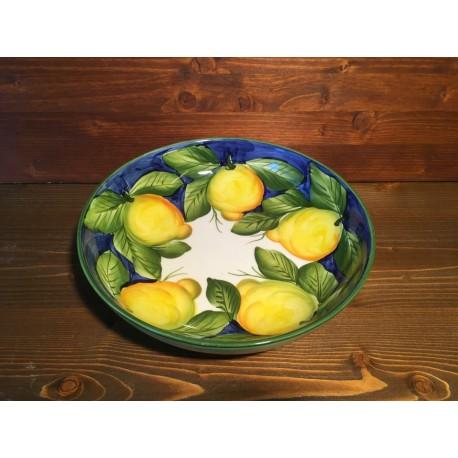 Low Round Bowl Lemons Blue Background