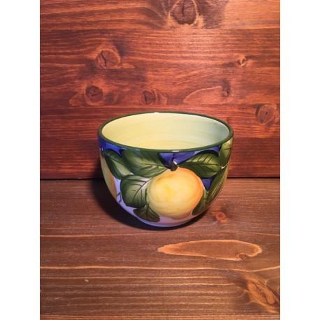 Round Bowl Lemons Blue Background