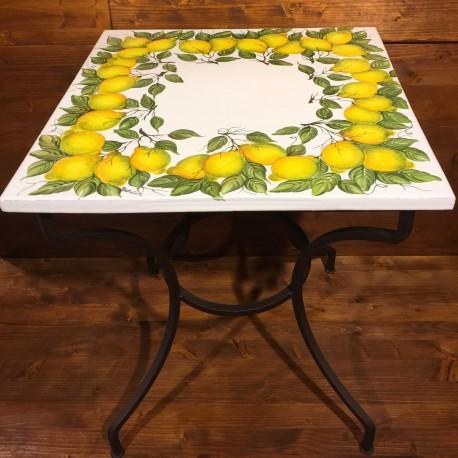 Tavolino in ferro battuto piastra ceramica decoro Corona Limoni ...