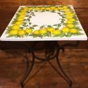 Schmiedeeisen Tisch mit Zitronen-Krone Keramikplatte