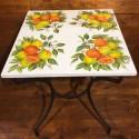 Tavolino in ferro battuto piastra ceramica decoro Arance Limoni