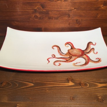Rectangular tray with Octopus decoration