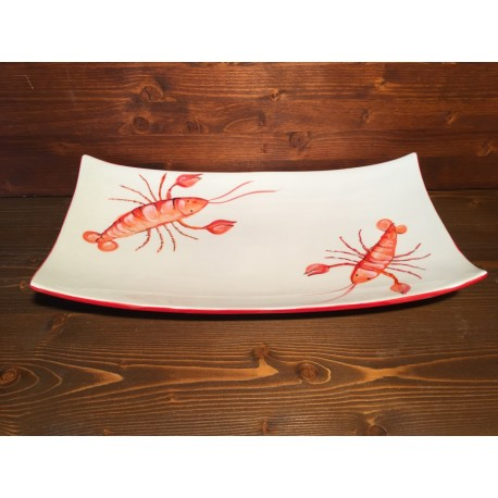 Rectangular tray with Lobster decoration