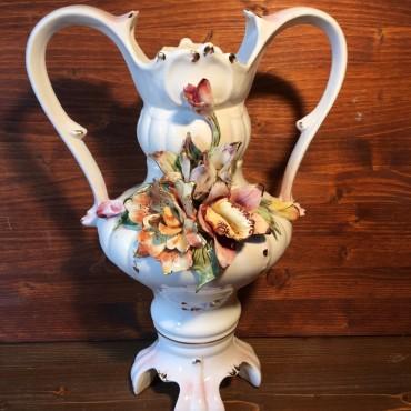 Vaso Porcellana Fiori Applicate
