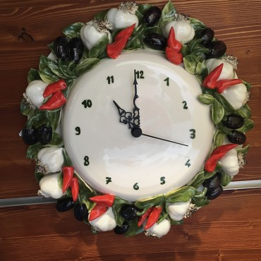 Wall Clock Garlic Olives and Chillies
