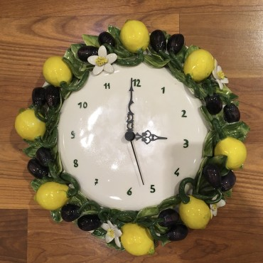 Wall Clock Lemons and Olives