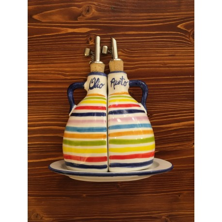 Vinegar Oil Set with handles , Stripes