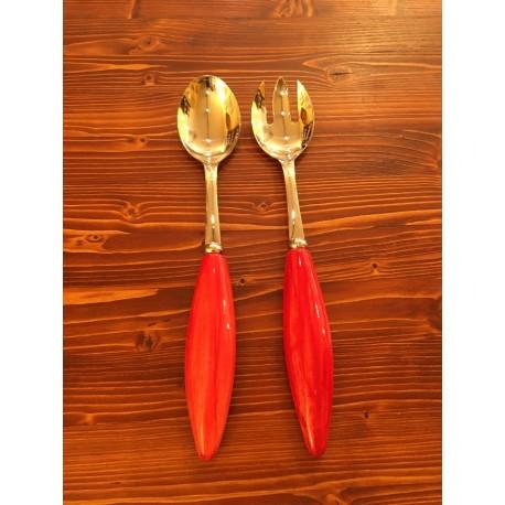 Coppia Insalata Rossa Acciaio Inox e Ceramica