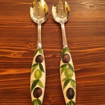 Coppia Insalata Olive Acciaio Inox e Ceramica
