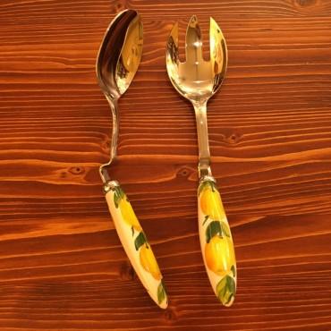 Salat Besteck Unterstützung Zitrone Inox und Keramik
