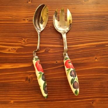 Coppia Insalata d'appoggio Tomato e Oliva Acciaio Inox e Ceramica