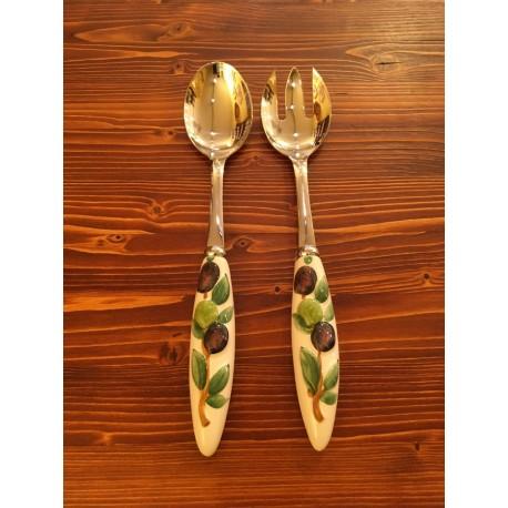 Salat Besteck Oliven Rilievo Inox und Keramik