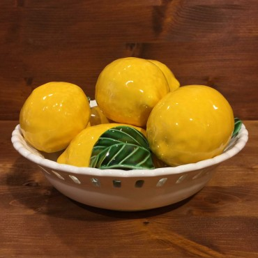 Cestino tondo traforato con 7 Limoni 3 Foglie